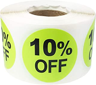 10% Percent Off Stickers for Retail 1.5 Inch 500 Adhesive Labels