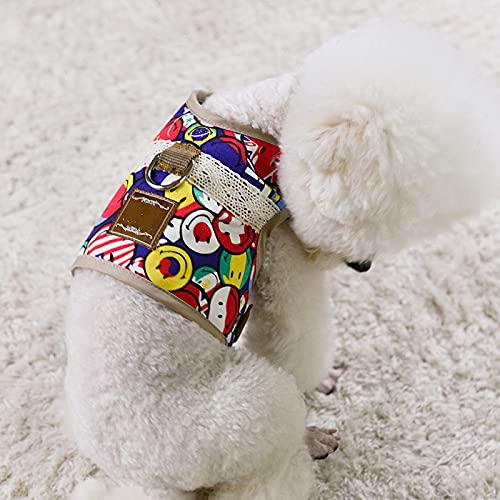 Chaleco de arnés para perro pequeño con hebilla ajustable tipo correa de pecho para mascotas transpirable suave vaquero cachorro Sternal faja arnés para gato correa M rojo