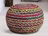 Bhuvan handloom Hand Knitted Cable Style Dori Pouf Floor Ottoman (Multi color)