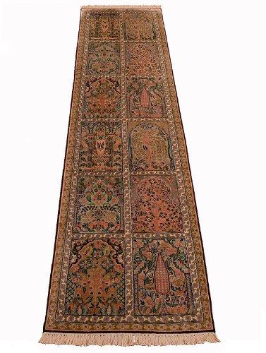 Unbekannt Klassischer handgeknüpfter Orient Teppich Kaschmir aus Indien Läufer 320 x 77 cm
