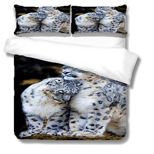 HLL bedding sets with comforter 3D animal Print Snow leopard brother 3 pieces Microfiber Cover Set Winter Luxury Soft for children/boys/Kids