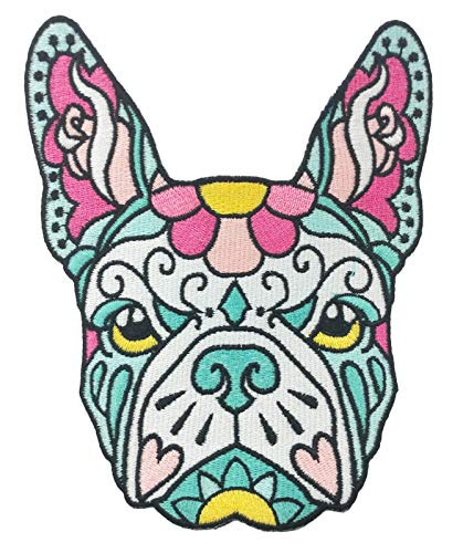 French Bulldog Pink Teal Sugar Skull Tattoo Breed Dog Lover Sew On Embroidered Patch