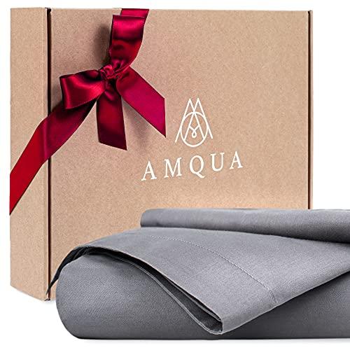 Amqua Mako Satin Bettwäsche 135x200cm + Kissenbezug 80x80cm, 100% Bio Baumwolle (Zertifiziert), grau