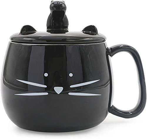 Koolkatkoo 16OZ Cute Cat Coffee Mug with Cell Phone Holder Lid for Cat Lover Unique Ceramic Black Mugs Tea Cup Women