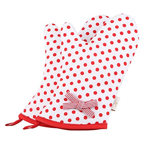 NEOVIVA Lovely Cotton Quilting Heat Resistant Child Oven Mitts for Kid Girls in Play Kitchen, Set of 2, Polka Dots Cherry Tomato