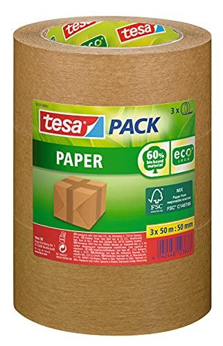 tesapack Paper ecoLogo im 3er Pack - Umweltgerechtes Paketband aus Papier, 60 Prozent biobasiertes Material - Braun - 3 Rollen je 50 m