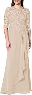 Women's Chiffon Mother of The Bride Dresses Long Evening Formal Gowns Half Sleeves