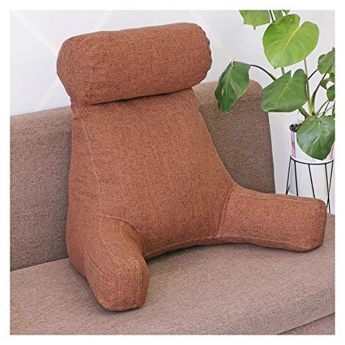 Almohada de respaldo grande con brazos, relleno de espuma viscoelástica para quitar el cuello, fundas de cambio, cremallera en la funda de la cama para silla ajustable, café grueso, 80 x 67 x 50 cm