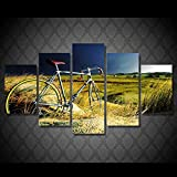TAOZIQH Dekoration Wohnzimmer Wandkunst Gemälde 5 Panel Feld Fahrrad Fahrrad Home Modular Pictures Framework HD gedruckte Moderne Leinwand