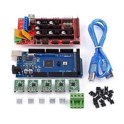 RAMPS Kit,RAMPS Controller Module 3D Printer RAMPS 1.4 Controller + MEGA2560 R3 + A4988 with Heat Sink USB Kit