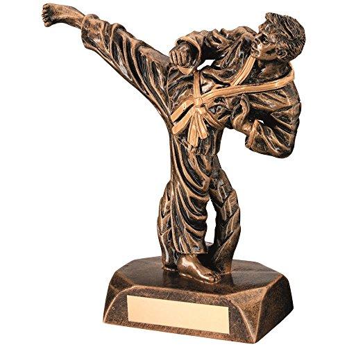Lapal Dimension Brocha de tamaño Solar, Resina Dorada Karate Figure Trophy – 16,5 cm