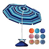 ROWHY 7.5FT Beach Umbrella with Cup Holder and Sand Bags Portable Outdoor Heavy Duty Sunshade Umbrella with Sand Anchor & Tilt System, Wind Resistant for Sand, Beach,Patio,Yard, Blue-White