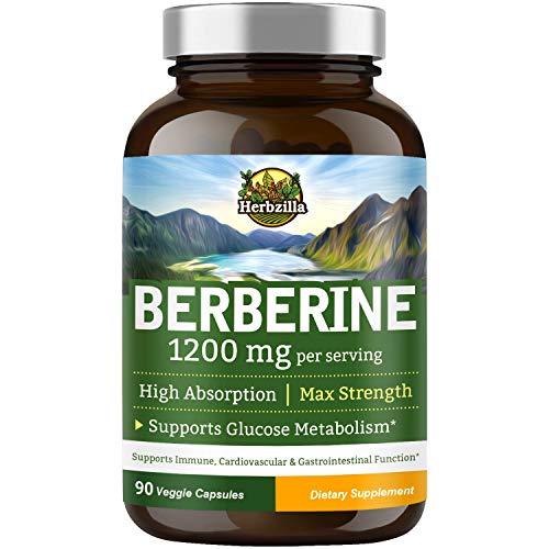 Herbzilla Berberine HCL 1200 mg per Serving, No Gluten Soy Non-GMO, Blood Sugar, Glucose Metabolism, Immunity, Weight Loss, Cardiovascular & Gastrointestinal Health, Powerful AMPK Activator, 90 Caps