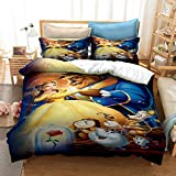 MULMF Princesses Duvet Cover Set Beauty and The Beast Kids Bedding Set Movie Characters 2 Pieces Twin Size