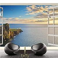 写真の壁紙3D立体空間カスタム大規模な壁紙の壁紙 窓の海の景色の壁の装飾リビングルームの寝室の壁紙の壁の壁画の壁紙テレビのソファの背景家の装飾壁画-400X280cm