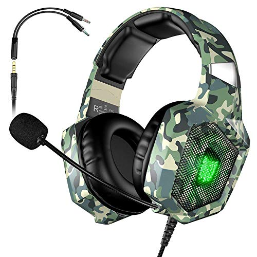 Marxways Ps4-PC-kabelgebundenes Stereo-Over-Ear-Gaming-Headset mit RGB-Licht 3,5-mm-Audioanschluss Bass Surround Kompatibel mit Xbox One PC-Laptop-Switch-Spielen