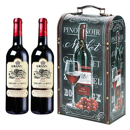 GeschenkboxWeinflasche Weinkoffer Kunstleder Holzkiste Weinflaschenbox 2 Flasche Weinkiste Vintage Weinzubehör Wein Geschenkverpackung Weißwein Flaschenhalter Holzbox für Weingeschenk Weinsammlung