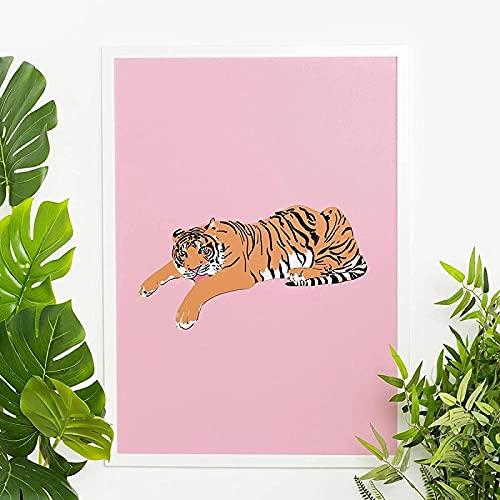 Impresión de imagen 70x90 cm Póster modular sin marco Tigre rosa Animal de la selva Imagen Arte de la pared Dibujos animados Decoración de la sala de estar Obra de arte moderna