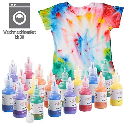 infactory Textilmalfarben: 18er-Set Textilfarben in Gelb, Orange, Rot, Lila, Blau, Grün, je 30 ml (Klamottenfarben)