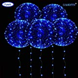 DANIDEER Led BoBo Balloons Warm White/Pink/Blue, 18 Inch 5 PCS Transparent Helium Balloons with String Lights, LED Light Balloons for Christmas, Birthday, Wedding and Party Decoration (Blue)