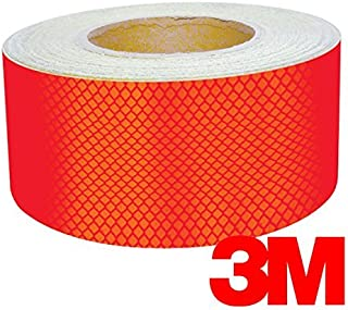 3M High Intensity Gloss Red Adhesive Diamond Reflective Vinyl 12 Inch Tape 2-Roll Pack (2 Inch x 24 Inch)