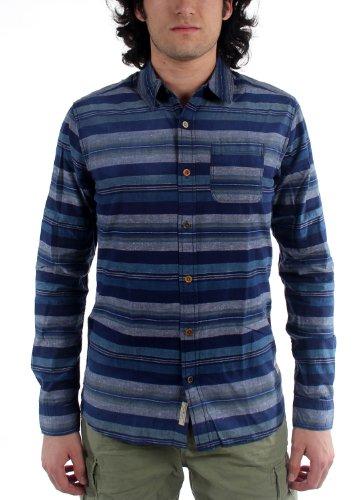 Scotch & Soda - - Japonais tissé Indigo Button Down shirt hommes, Large, Blue
