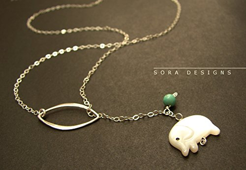 Elephant lariat necklace, elephant pendant sterling silver lariat white elephant charm necklace, tiny elephant charm necklace