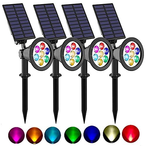 Eofiti 4 Piezas Foco Solar Exterior, Impermeable IP65 Luces Solares Exterior Jardin, 8 Color Cambio, 2 Modos de Iluminación, ángulo de 180° Ajustable, Luz Solar de Entrada, Camino, Césped, Terraza