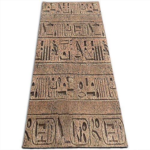 Tapis de Yoga antidérapant, Egypte, Ancien Mur, Tapis de Yoga pour Yoga, Pilates, Exercices au Sol, Stretch [61X180Cm]