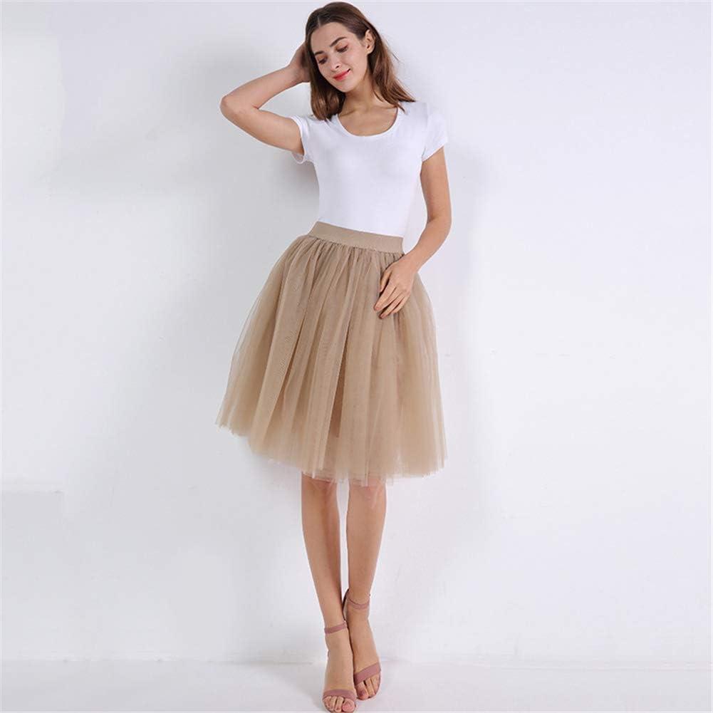 NC Women's Mesh Pleated Fluffy Midi Skirt 5 Layer A-line Skirt Tulle Skirt
