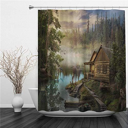 SUHETI Duschvorhang 180x180cm,Natürliche Landschaft Lake House Holzhütte Kiefer & Zauberwald,Duschvorhang Wasserabweisend-Duschvorhangringen 12 Shower Curtain mit