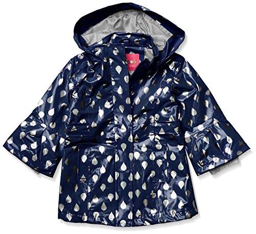Wippette Girls' Toddler Shiny Raindrop Rain Jacket, Navy, 2T