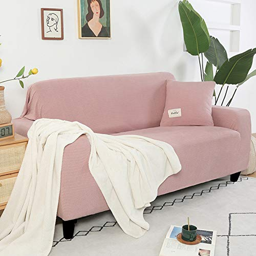 OcaseQ 1 Piece Jacquard Sofa Covers Stretch Fabric Settee Cover Non Slip Furniture Protector 1/2/3 Seater Couch Cover for Dogs Universal Sofa Slipcover for Living Room,Pink,L