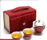 LWSJP Tetera Hecha a Mano 4pcs Set de Porcelana Plata de Porcelana Taza rápida On One Pot Dos Tazas Tetera Tetera Tea Travel Travel Kung Fu Tea Set Portable