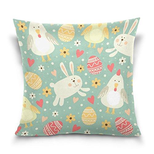ColourLife Linda capa de almofada sem costura com símbolo de Páscoa quadrada de algodão e linho para decoração de casa, sofá, cadeira de carro, 45,72 x 45,72 cm