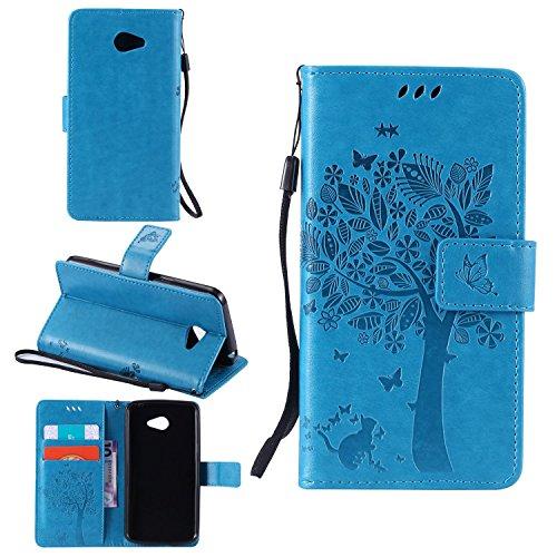 Tasche für LG K5 Hülle, Ycloud PU Ledertasche Flip Cover Wallet Hülle Handyhülle mit Stand Function Credit Card Slots Bookstyle Purse Design Katze Baum Schmetterling Geprägt Blau