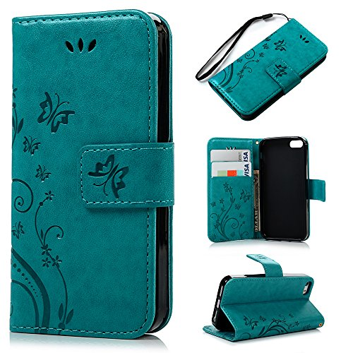 iPhone SE 5S 5 Case - MOLLYCOOCLE Natural Luxury Blue Stand Wallet Purse Credit Card ID Holders Magnetic Design Flip Folio TPU Soft Bumper PU Leather Ultra Slim Fit Cover for iPhone SE, 5S, 5