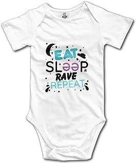 """Tamianice Strampler für Neugeborene, mit Aufschrift """"Eat Sleep Rave Repeat"""", kurzärmelig, für 0-24 Monate, Weiß"""
