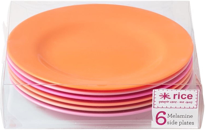 Rice Tellerset 6-teilig Rosa Orange B06X9VGFPB
