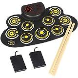zzhehou tamburo elettronico set elettronica drum set portatile elettronico pratica pratica pad drum kit regalo perfetto per gli amanti della musica (colore : yellow, size : one size)