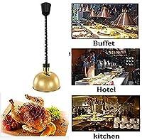 OESFL 食品ウォーマーランプカフェテリア/ホテル/パーティーのために使用される金属調節可能な食品の加熱ランプ商業望遠鏡のシャンデリアの照明シャンデリアステンレススチール製のキッチン用品 (Color : Gold)
