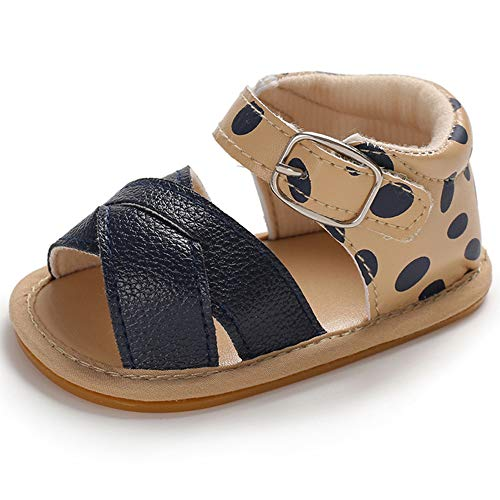 SOFMUO Baby Girls Boys Sandals Premium Soft Anti-Slip Rubber Sole Infant Summer Outdoor Shoes Toddler First Walkers (0-6 Months M US Infant, A-Navy)
