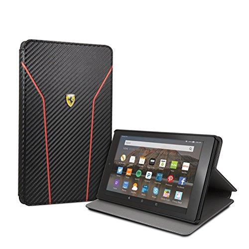 Ferrari - Custodia per tablet Fire HD 8 (7ª e 8ª generazione, versione 2017 e 2018), modello Carbon, con attivazione/spegnimento automatici, Nero
