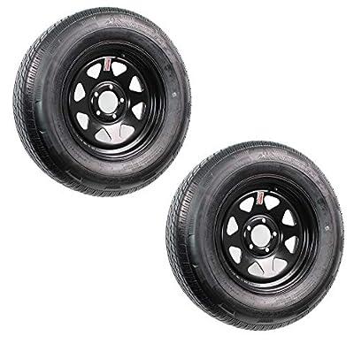 2-Pack Radial Trailer Tires On Rims ST205/75R15 LRC 5-4.5 Black Spoke Wheel