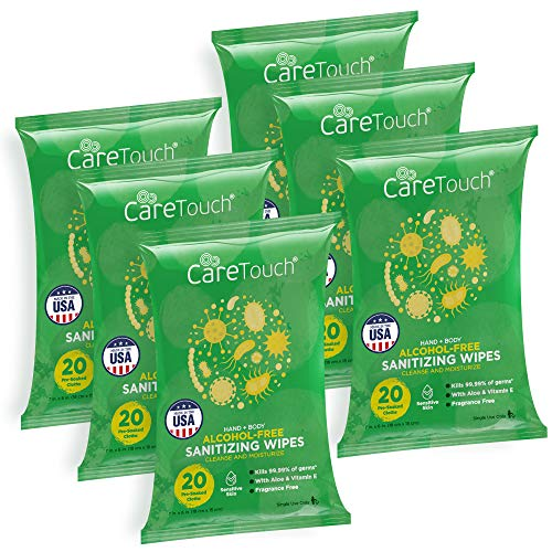 Care Touch Alcohol-Free Hand Sanitizing Wipes - 6 Pouches, 120 Wipes - Hand Wipes with Vitamin E and Aloe Vera - Great for Babies and Adults, Safe for All Skin Types - Made in The USA