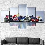 Cuadro Moderno En Lienzo 5 Piezas XXL Red Bull Rb9 Formel 1 F1 Auto Lienzo Impresión Cuadros Decoracion Salon Grandes Cuadros para Dormitorios Modernos Mural Pared Listo para Colgar