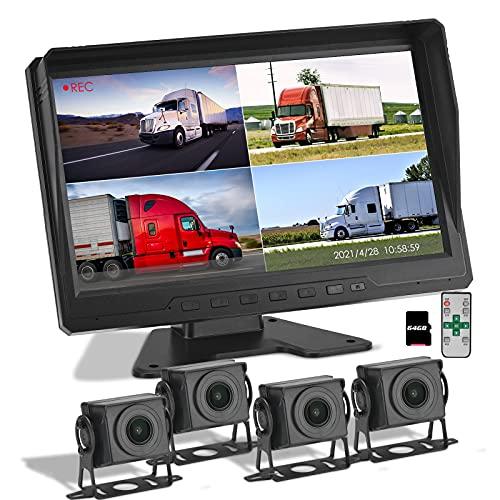 RüCkfahrkamera Set, TTLIFE 10,1 Zoll Ultraklarer FHD1080P Lkw und Bus-Reiserekorder, 4 Kameras, 360°Panorama Toter Winkel Überwachung, Rückfahrbild, Split Screen Display Geteilt