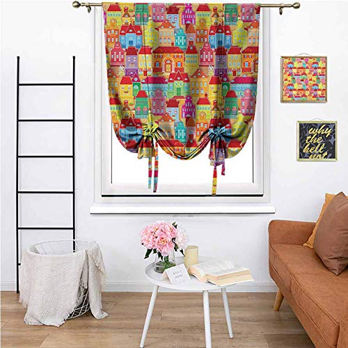 Cityscape Cartoons Blackout Tie Up Curtain European Architecture Art Houses with Pillars Fountains Cute Urban View Light Reducing Room Darkening for Living Room, 36'x72' Multicolor
