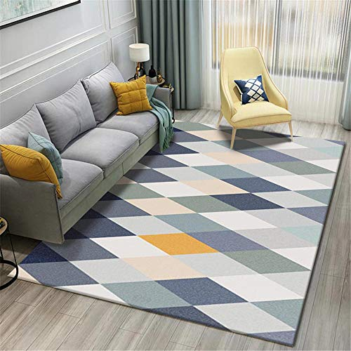 AU-SHTANG Bases Antideslizantes para alfombras Alfombra de diseño de patrón cuadrilátero geométrico Azul Alfombra antiincrustante Lavable Resistente al Desgaste alfombras pie de Cama -Azul_Los 6