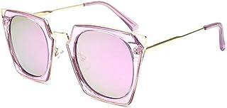 Fashion Transparent Color Square Large Frame Cat Eye Glasses UV400 Protection New Ladies Polarized Sunglasses Retro (Color : Purple)